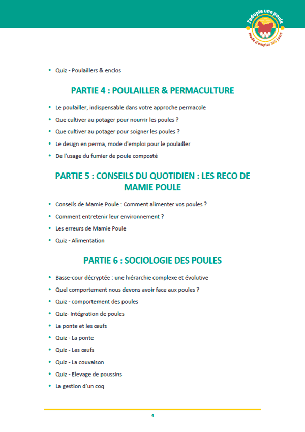 Page formation J'adopte une poule